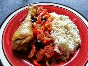 Poulet au chorizo.  <p>Le poulet au chorizo est fait pour les aficionados des senteurs espagnoles.</p>