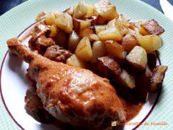Poulet au vinaigre.  <p>Le poulet au vinaigre, une recette terroir de la région lyonnaise.</p>